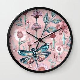 Rose Gold Dragonfly Garden | Pastel Wall Clock