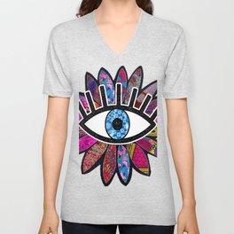 Greek Evil Eye Purple Flower Unisex V-Neck