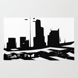 City Scape in Black and White Rug