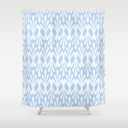 Decorative Plumes - White on Pastel Blue Shower Curtain