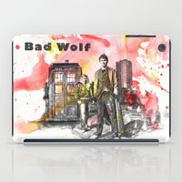 david tennant iPad Cases featuring Doctor Who 10th Doctor David Tennant With Companion Rose Tyler by idillard