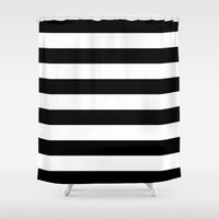 stripe Shower Curtains featuring Stripe Black & White Horizontal by Beautiful Homes