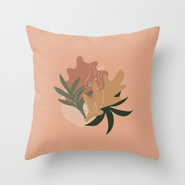 abstract leaves and bunny Throw Pillow