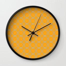 Orange Quatrefoil Pattern Wall Clock