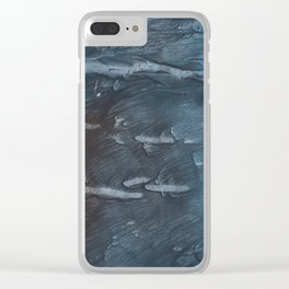 Dark slate gray colorful watercolor Clear iPhone Case