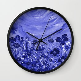 Blue Meadow Wall Clock