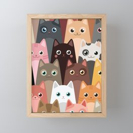 Cats Pattern Framed Mini Art Print