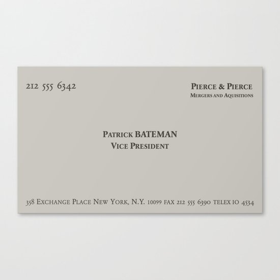 American psycho patrick bateman business card canvas print by american psycho patrick bateman business card canvas print by skjelseth society6 colourmoves