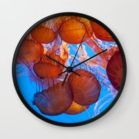 jelly fish Wall Clocks featuring Jelly Fish by Shannon McCullough-Wight