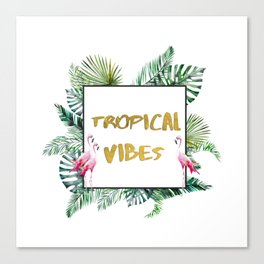 Aloha - Tropical Vibes Typography with Palm Leaves and Flamingo Canvas Print