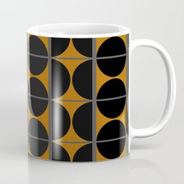 Black and Gray Gradient with Gold Squares and Half Circles Digital Illustration - Artwork Coffee Mug