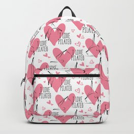 Pilates poses and heart seamless pattern Backpack
