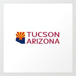 Arizona: Tucson (State Shape & Flag) Art Print