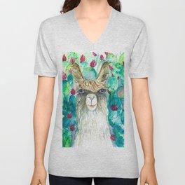 Llama in cacti Unisex V-Neck