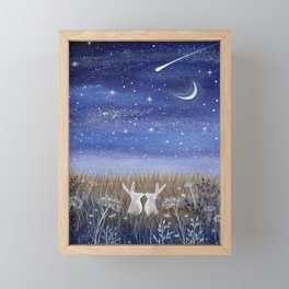 Hares and the Crescent Moon Framed Mini Art Print