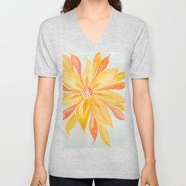 Sunburst Yellow and Orange Abstract Watercolor Flower Unisex V-Neck