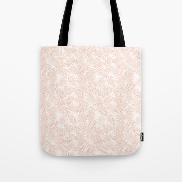 Soft Pastel Orange Peach Monstera Jungle Leaves Tote Bag