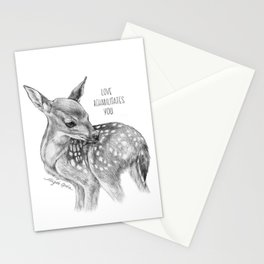 Deer Illustration By Magda Opoka | Animal | Black and White | bw | black-and-white | Animals Stationery Cards
