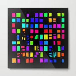 Rainbow Pixel in darck Metal Print