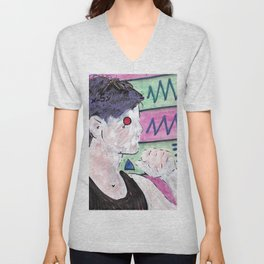 Milk Android Justin Consults Schrödinger's Love Triangle Unisex V-Neck