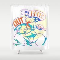 boobs Shower Curtains featuring Boobs Out, Dudes by DinoFlamingo
