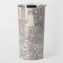 vintage halloween purple ivory Travel Mug