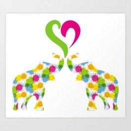 Two elephants in love Art Print