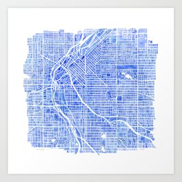 Denver Blueprint City Map Watercolor Art Print