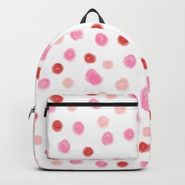 1e81c7d288386 Dots pointed polka dot pattern red pink pastel painterly dot Backpack