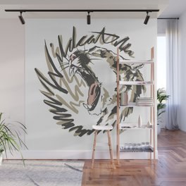 Wildcat Roar - Mountain Lion - Taupe Gray Wall Mural