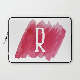 Letter R Pink Watercolor Laptop Sleeve