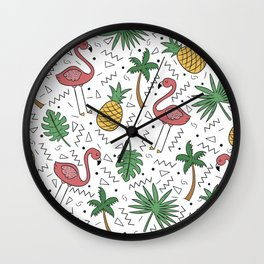 Tropical Collage Wall Clock