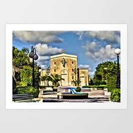 digital painting oil on canvas - Mosta Dome Cathedral St. Mary church The Parish Church of Assumptio Art Print