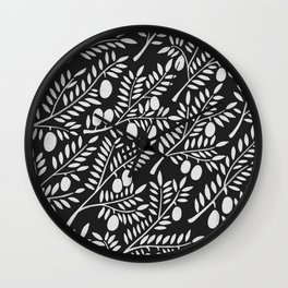 White Olive Branches Wall Clock