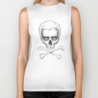 house md Biker Tanks featuring Everybody Dies - House MD Skull Crossbones by Olechka