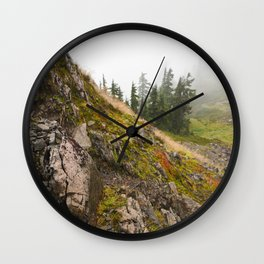 Fog Mist Misty Forest Ombre Rocks Mountain Geology Northwest Washington Outdoors Wall Clock