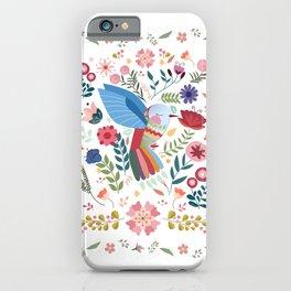 Folk Art Inspired Hummingbird In A Burst Of Springtime Blossoms iPhone Case