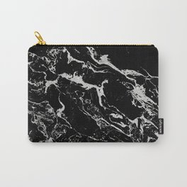 Modern silver black marble pattern Carry-All Pouch