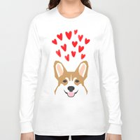 valentines Long Sleeve T-shirts featuring Valentines - Love Corgi  by PetFriendly