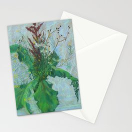 Burdock leaves and autumn herbs Stationery Cards