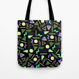 Geometrical retro lime green neon purple 80's abstract pattern Tote Bag