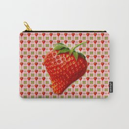 Vintage Strawberry Pattern Carry-All Pouch