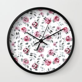 Gray pink watercolor modern leaves floral Wall Clock