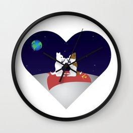 Belka and Strelka on the moon Wall Clock