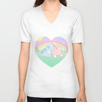 puppies V-neck T-shirts featuring Puppies in love by Fufunha