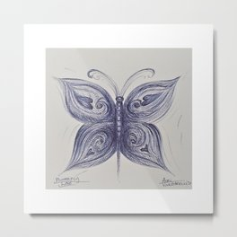 Blue Gray Butterfly Metal Print