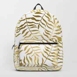 Gold Leaves on White Backpack