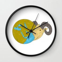 Ram Head Middle East Globe Drawing Wall Clock