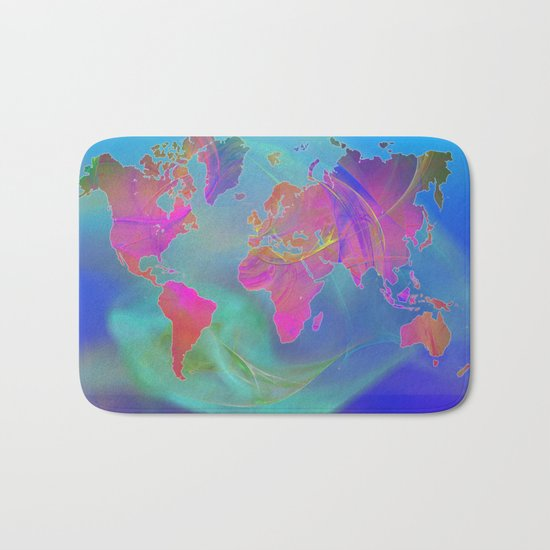World Map Fractal Bath Mat