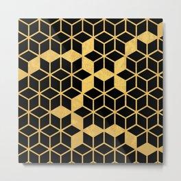 Black and Gold Cubes Metal Print